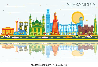 Alexandria Egypt City Skyline with Color Buildings, Blue Sky and Reflections. Vector Illustration. Business Travel and Tourism Concept with Historic Architecture. Alexandria Cityscape with Landmarks.