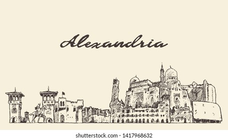 Alexandria skyline, Egypt, hand drawn vector illustration, sketch