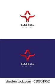 Alfa bull logo template.