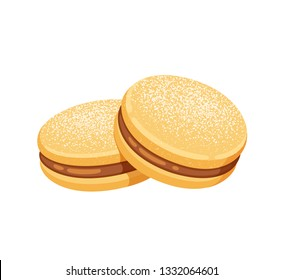 Alfajor de maicena, traditional Chilean sandwich cookies filled with manjar (dulce de leche). Classic south American dessert. Isolated vector clip art illustration.