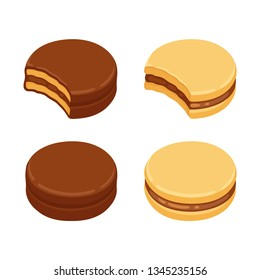 Alfajor sandwich cookie set, with dulce de leche filling and covered with chocolate. Isolated vector clip art illustration.