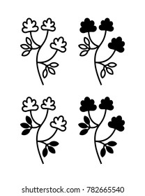 Alfalfa (Medicago sativa, lucerne). Vector illustration of alfalfa plant with flowers isolated on white background. Icon set.