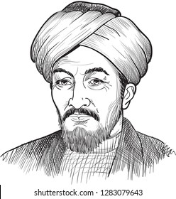 Al-Farabi (872-950) portrait in line art illustration. He was philosopher, jurist, scientist, cosmologist, mathematician and music scholar who wrotes on politics, metaphysics, ethics, logic.