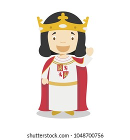 Alfonso X of Castile (The Wise) cartoon character. Vector Illustration. Kids History Collection.