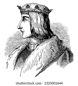 Alfonso X was king of castile and Leon nicknamed as astronomer and philosopher, vintage engraved line art illustration. Infernal Dictionary 1863.