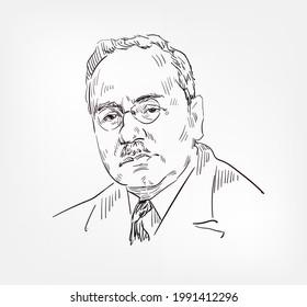 Alfred Adler Austrian medical doctor, psychotherapist, founder psychologist vector sketch portrait illustration