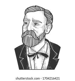 Alfred Nobel portrait sketch engraving vector illustration. T-shirt apparel print design. Scratch board imitation. Black and white hand drawn image.