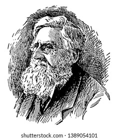 Alfred Russel Wallace, 1823-1913, he was a British naturalist, explorer, geographer, anthropologist, and biologist, vintage line drawing or engraving illustration