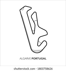 Algarve circuit, Portugal. Motorsport race track vector map