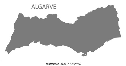 Algarve Portugal Map in grey