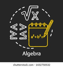 Algebra chalk concept icon. Algebraic equations, more and less sign. Advancing calculations, learning advanced algebra, complicated math problem idea. Vector isolated chalkboard illustration