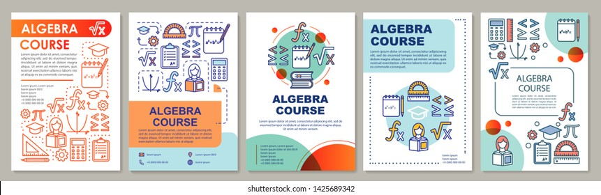 Algebra course, math lessons brochure template layout. Flyer, booklet, leaflet print design with linear illustrations. Vector page layouts for magazines, annual reports, advertising posters