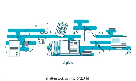 Algebra linear illustration set. Modern color thin line concept of Algebra for school, university and training. Vector illustration with different elements on the subject Algebra