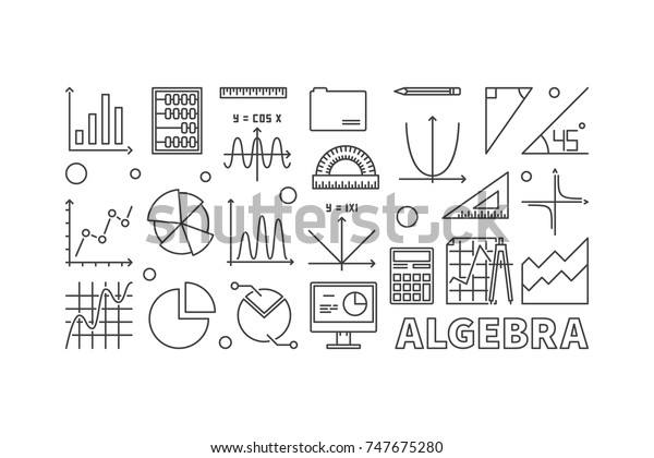 Algebra Vector Outline Illustration Banner On Stock Vector