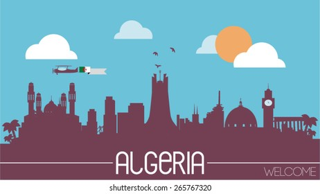 Algeria city skyline silhouette flat design vector illustration
