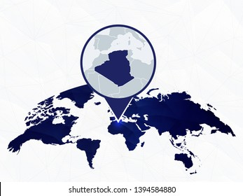 Algeria detailed map highlighted on blue rounded World Map. Map of Algeria in circle.