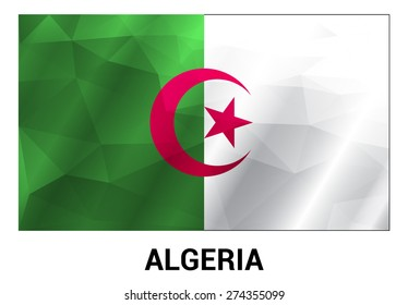 Algeria Flag, geometric polygonal shapes. Vector illustration.