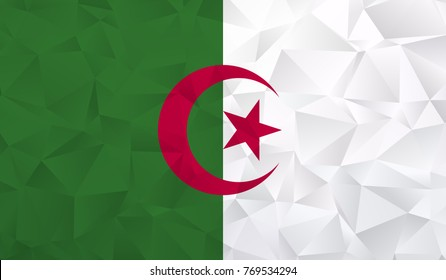 Algeria flag - geometric rumpled triangular low poly style gradient graphic, polygonal design for your. Vector illustration eps 10.
