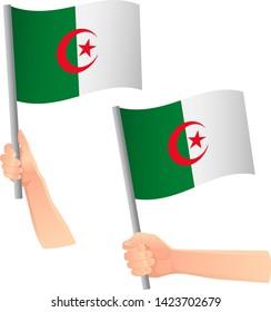 Algeria flag in hand. Patriotic background. National flag of Algeria vector illustration