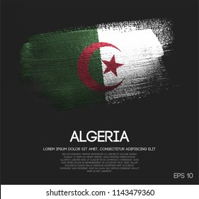 Algeria Flag Made of Glitter Sparkle Brush Paint Vector