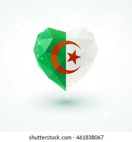 Algeria flag in shape of diamond glass heart in triangulation style for info graphics, greeting card, celebration of Independence Day, printed materials
