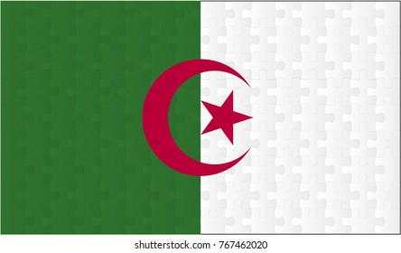 Algeria Flag. Vector image of Algeria Flag 144 pieces of jigsaw puzzles Vector eps 10 illustration.