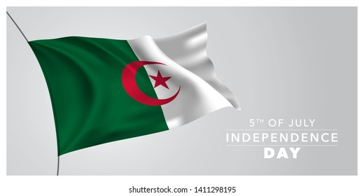 Algeria happy independence day greeting card, banner, horizontal vector illustration. Algerian holiday 5th of July design element with waving flag as a symbol of independence