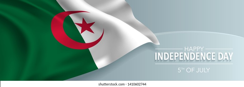 Algeria happy independence day vector banner, greeting card. Algerian wavy flag in 5th of July national patriotic holiday horizontal design