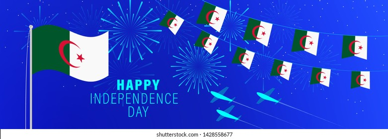 July5 Algeria Independence Day greeting card. Celebration background with fireworks, flags, flagpole and text.
