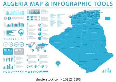 Algeria Map - Detailed Info Graphic Vector Illustration