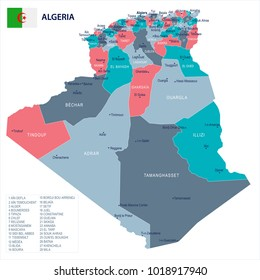 Algeria map and flag - High Detailed Vector Illustration