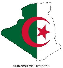 Algeria Map And Algeria Flag Vector