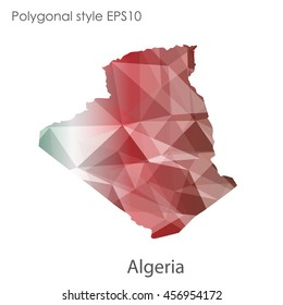 Algeria map in geometric polygonal,mosaic style.Abstract gems triangle,modern design background. Vector illustration EPS10