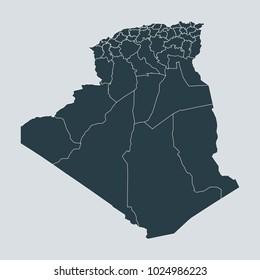 Algeria map on white background vector, Algeria Map Outline Shape Gray on White Vector Illustration, High detailed Gray illustration map Algeria.