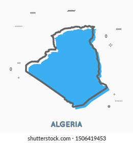 Algeria map in thin line style with small geometric figures. Vector illustration modern concept