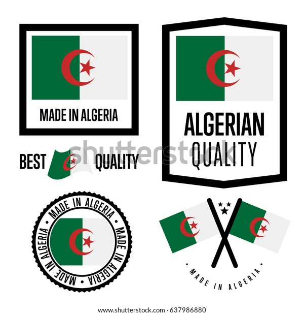 Algeria Quality Isolated Label Set Goods Stock Vector