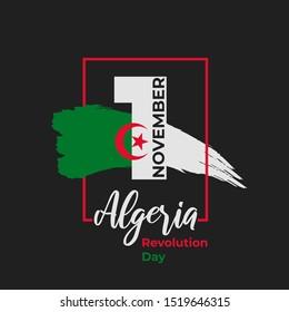 Algeria Revolution day - 1st November. Greeting card, poster, banner template. Celebration background national Algeria watercolor ink brush flag and numeral 1. Vector illustration