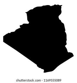 Algeria - solid black silhouette map of country area. Simple flat vector illustration.