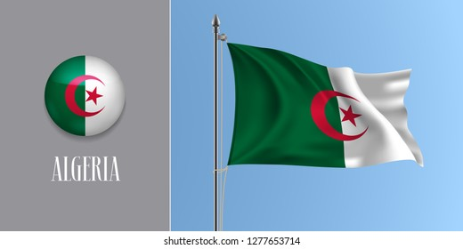 Algeria waving flag on flagpole and round icon vector illustration. Realistic 3d mockup of moon and star of Algerian flag and circle button