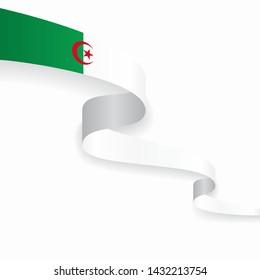 Algerian flag wavy abstract background. Vector illustration.
