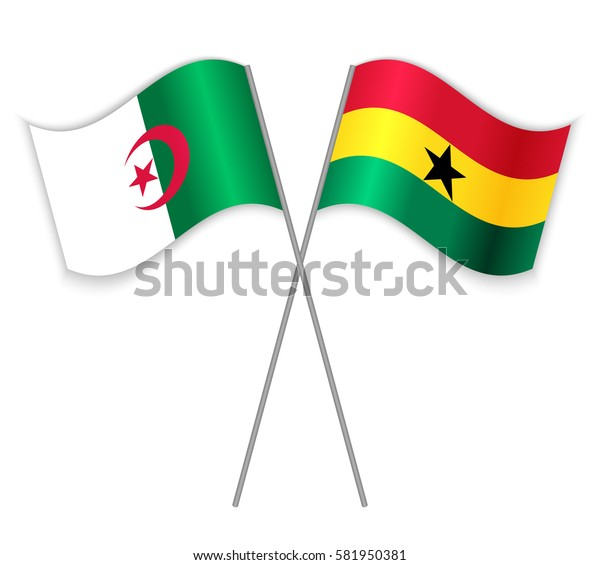 Algerian and Ghanaian crossed flags. Algeria combined with Ghana isolated on white. Language learning, international business or travel concept.