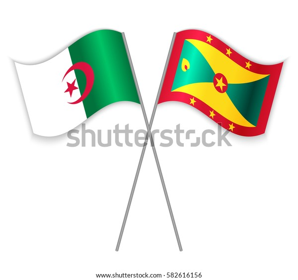 Algerian and Grenadian crossed flags. Algeria combined with Grenada isolated on white. Language learning, international business or travel concept.