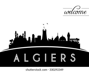 Algiers Algeria skyline silhouette, black and white design, vector illustration