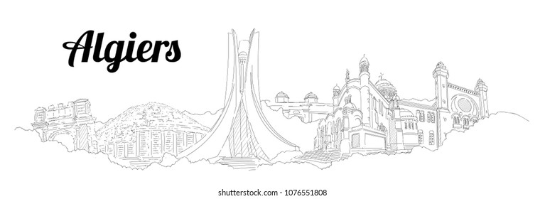 Algiers CITY city vector panoramic hand drawing illustration
