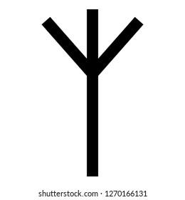 Algiz Elgiz rune elk reed defence symbol icon black color