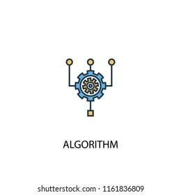 Algorithm concept 2 colored line icon. Simple yellow and blue element illustration. Algorithm concept outline symbol design from big data set