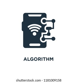 Algorithm icon. Black filled vector illustration. Algorithm symbol on white background. Can be used in web and mobile.