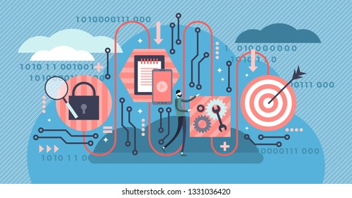 Algorithm vector illustration. Flat tiny digital tech coding persons concept. Symbolic modern cyberspace engineering graphic. Structural digital software program solution development and success line.