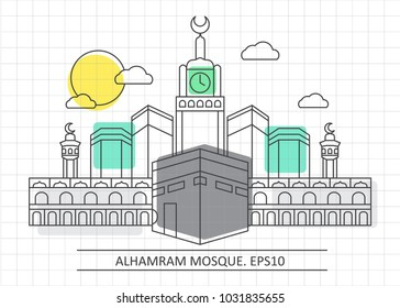 alharam mosque icon with illustration style