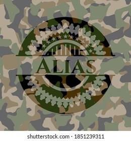 Alias written on a camouflage pattern. Vector Illustration. Detailed.